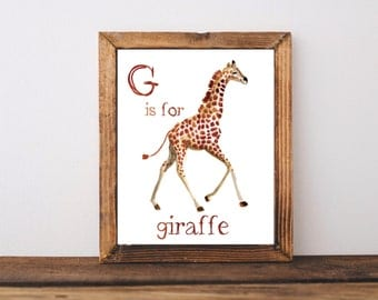 G is for Giraffe Watercolor Nursery Sign