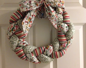 Braided Fabric Christmas Wreath
