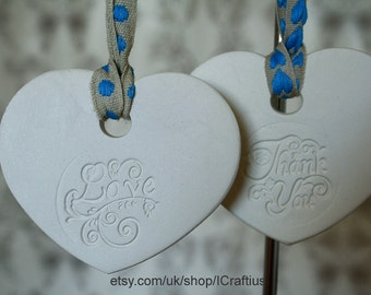 Love & Thank You Hanging Heart Plaques - Blue