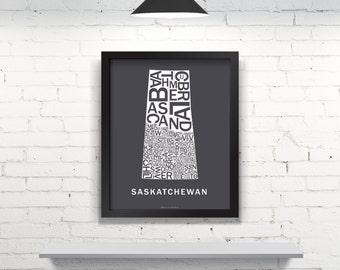 Far Sky Saskatchewan Typographic Map