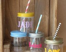 Plastic Mason Jars, 10 Personalized Mason Jars, Kids Party Favors, Kids Personalized cups Baby Shower Favors Wedding Favors Mason Jar Favors