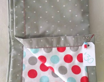 Polka Dot cotton and flannel baby blanket