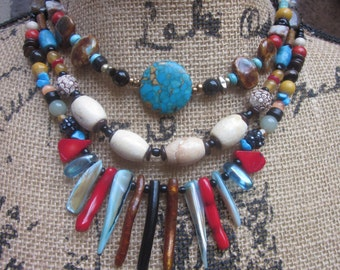 bohemian statement necklace Vibrant Southwestern bamboo Stone shell spike necklace Glass Beaded Boho colorful multi strand  Necklace