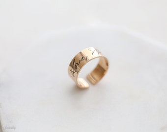 SALE 30% Engraved signature ring - Engraved handwriting ring – handwriting ring – Signature ring – Adjustable name ring - Memorial jewelry