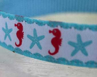 Seahorse Dog Collar/Starfish/Ocean/Summer/Blue Dog Collar/Adjustable
