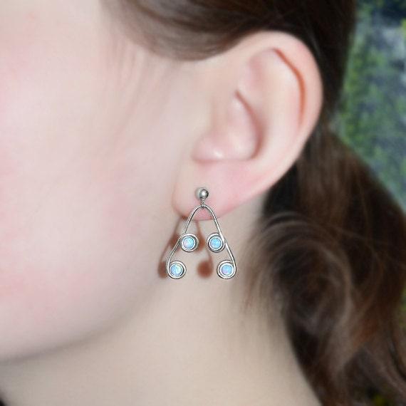 Extra Long 3mm Blue Opal Dangle Earrings - Sterling Silver Drop Stud Earrings - Opal Post Earings - Bohemian Jewelry