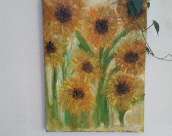 Sunflowers Galore a Print of the original oil painting The Sunflowers