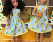 Curvy Barbie or vintage Sindy retro pineapple dress ( adult collector)