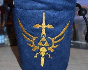 Dice Bag custom Embroidery Suede blue suede golden Zelda triforce Sword