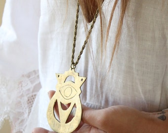 Evil eye necklace, bohemian necklace, bronze brass necklace, symbol necklace, antique brass metal, crescent moon, boho jewelry, gypsy