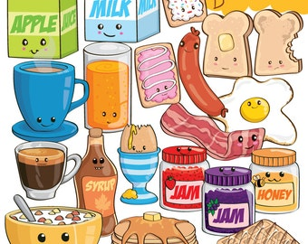 Kawaii Breakfast ClipArt Collection - Instant Download