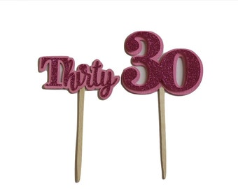 Pink Glitter Thirty Cupcake Toppers, Set of 12