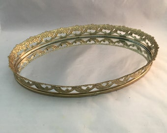 Oval Vanity Tray with Mirror, Gold Filigree