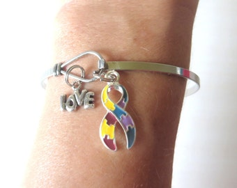 Autism Puzzle Ribbon LOVE HOPE Customizable Awareness Charm Stainless Steel Bangle Bracelet With Optional Love Hope and Letter Charm