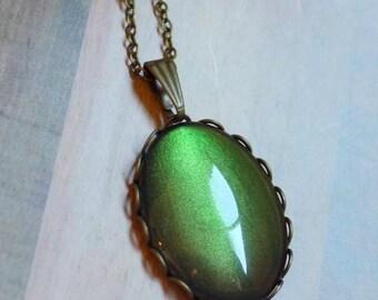 Color-Shifting Green Necklace, Nail Polish Pendant