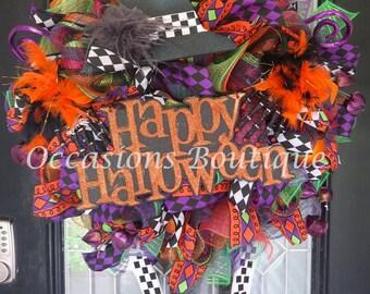 XL Halloween Witch Wreath, Halloween Decoration, Front door wreath, Wreath for door, Deco Mesh Wreath, Wicked Witch