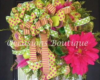 Spring Wreath, Summer Wreath, Front door wreath, Wreath for door, Door Hanger, Floral Wreath, Door wreath, Ready to ship