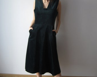 Vintage Velvet Dress 70s 80s Sarafan Dress Emerald Green Dresss Medium size Sleeveless Dress Midi Velvet Dress With lining