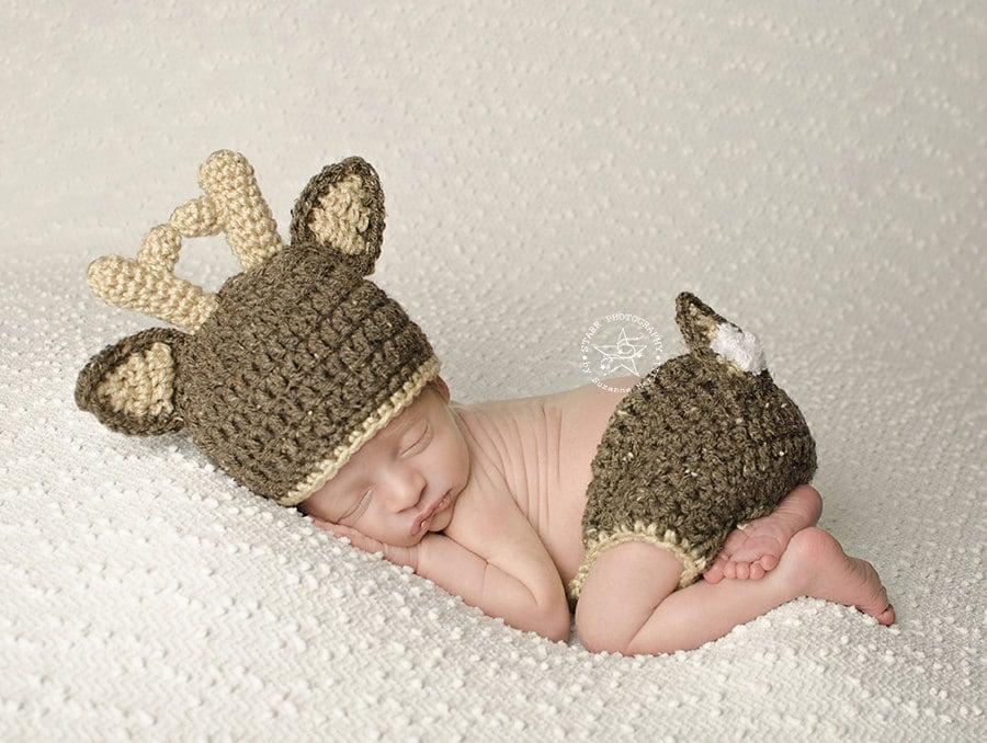 Crochet Baby Deer Pattern : Baby Deer Hat with Diaper Cover Crochet Deer hat and Diaper