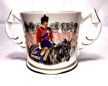 Aynsley Bone China, Loving Cup, The Queen, 60th Birthday, Trooping the Colour, Horse Guards Parade, 2 Handled Mug, National Anthem Britain