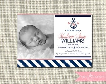 Nautical Birth Announcement, Birth Announcement, Nautical Announcement, Monogram, Anchor, Sailboat, Stripes, Baby Girl Announcement, Digital