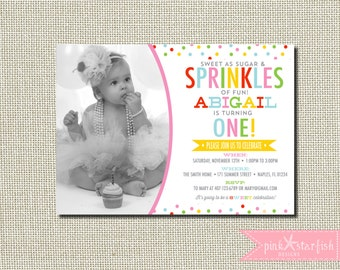 Cupcake Birthday Invitation, Confetti Birthday Invitation, Sprinkles Birthday Invitation, Sprinkles, Confetti, Birthday Invitation, Digital