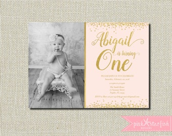 First Birthday Invitation, Pink and Gold Birthday Invitation, Star Birthday Invitation, Pink and Gold, Stars, Glam Birthday, Picture