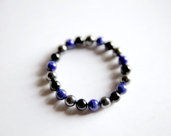 Complete Grounding, Black Onyx, Lapis Lazuli, Hematite Bracelet, Men's Bracelet, Intention Jewelry, Mens Bracelet, Men's Jewelry