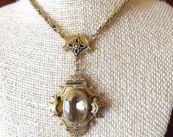 Edwardian Gold Necklace Citrine Stone Black Enamel_Swing Era Necklace_1940