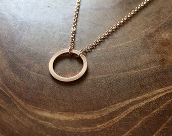 Circle Rosegold - necklace with a circle pendant. rosegoldtone, trend, hipster, modern, minimal, outline, rose, round