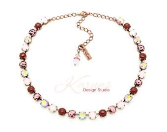 VINTAGE BOUQUET 8mm Crystal & Pearl Necklace Swarovski Elements *Pick Your Finish *Karnas Design Studio *Free Shipping