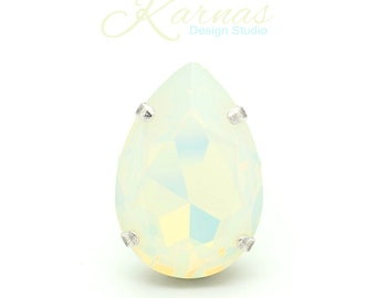 WHITE OPAL 30x20mm Crystal Pear XXL Adjustable Ring Swarovski Elements *Pick Your Finish *Karnas Design Studio *Free Shipping