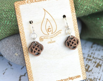Mahogany Celtic Knot Earrings with Sterling silver ear wires