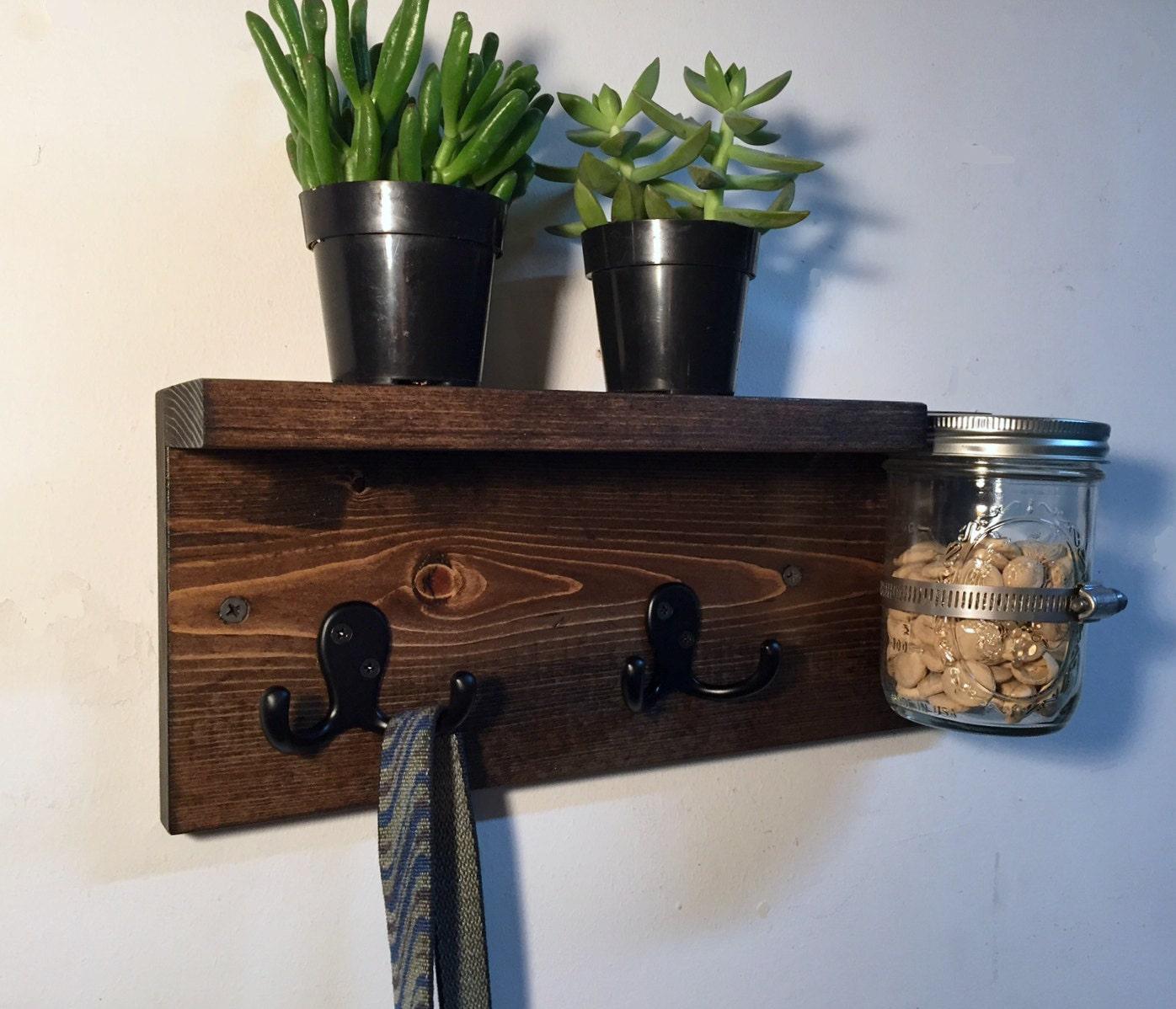 Dog Leash Holder With Shelf Entryway Storage Wood Key