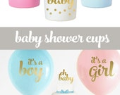 Baby Shower Cups - Gender Reveal Cups - Baby Shower Decorations - Gender Reveal Party Ideas - Baby Shower Decor (EB3104BB) - set of 25 CUPS