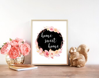 Downloadable Print, Home sweet home floral wreath, printable wall art, Black and floral, welcome sign, Wall decor