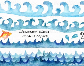 Watercolor Waves Borders Clipart, Waves clip art, Watercolour, clipart, PNG, Borders, Personal and Commercial Use