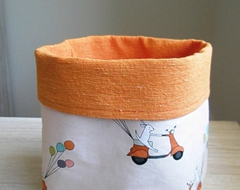 fabric basket for children room organization - toys storage - orange fabric bin with cute print for child - nursery room decor - playful