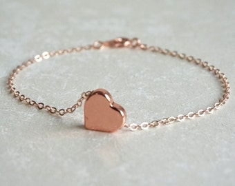 Heart Bracelet, Rose Gold Bracelet, Mothers Day, Best Friend, Friendship Bracelet, New Mom, Push Present, Wife Gift, Thank You, Wedding