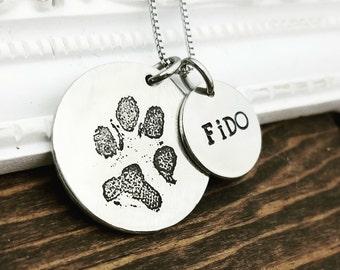 Your Pet's Actual Paw Print Necklace - Pet Memorial Necklace - Etched Paw Print Necklace - Memorial Necklace - Remembrance Necklace