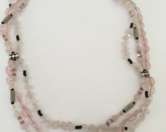 Rose Quartz and Bali Sterling Silver Beaded 3 Strand Statement Necklace - An AMAZING One-of-a-Kind Piece -  Inventory Clearance Sale