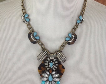 Vintage Assemblage Necklace and earring set......Statement necklace.....bold and shiny