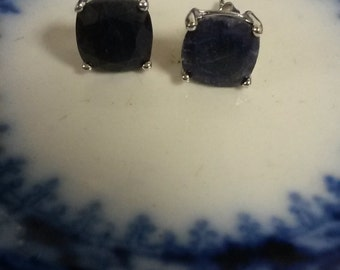 Estate Sterling Silver 925 6ct Natural Rough Blue Sapphire Earrings Studs Stud