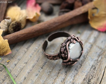 Copper wire Ring Pearls ring  Wire wrap Ring  Wire jewelry Wirewrapped jewellery Gift for her  Gemstone ring