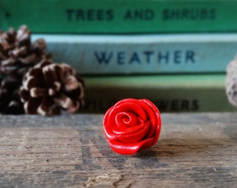 By the Shed - Red Rose Pin Badge - Flowers - Garden - Gardening - Gift - Unique Present - Rose Garden - Jewellery - Floral - Brooch, Tie Pin