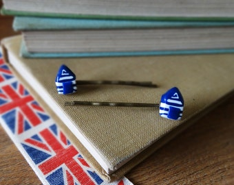 By the Shed Beach Hut Hairgrips - Seaside Sea, Beach, Coast, Handmade, Present, British Holidays - Blue White, Hut Shed Wendy House