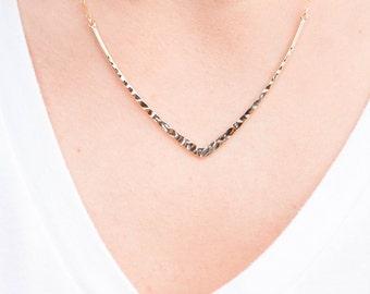 Hammered V Bar Necklace // Gold V Necklace // Sleek Collar Necklace // The Brooklyn Bar Necklace // Edgy V Necklace