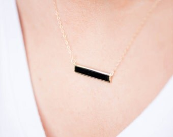 Minimalist Black Agate Bar Necklace on Sleek Gold Filled Cable Chain