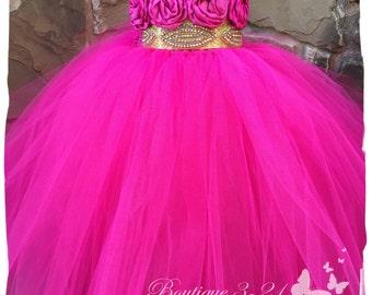 Fuchsia Gold tutu dress, Fuchsia Flower Girl Dress, Gold Flower Girl Dress, Fuchsia tutu dress, Gold tutu dress