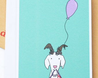 Goat Bunting Balloon Birthday/Celebration Illustration A6 Greetings Card